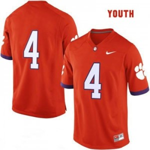Clemson Tigers #4 College Football Jersey - Orange - Youth