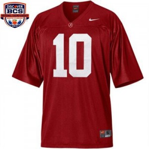 A.J. McCarron Alabama Apparel #10 BCS Bowl Patch Youth Football Jersey - Crimson Red
