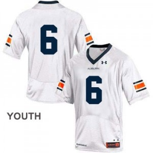 Auburn Tigers #6 College Football Jersey - White - Youth