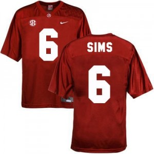 Blake Sims Alabama #6 Football Jersey - Crimson Red