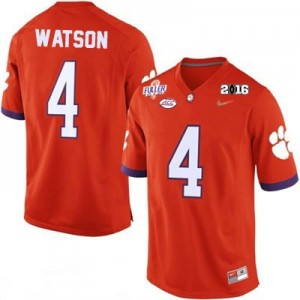 Deshaun Watson #4 Clemson Tigers National Championship Football Jersey - Orange