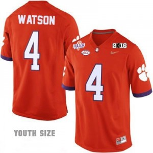 Deshaun Watson #4 Clemson Tigers National Championship Football Jersey - Orange - Youth