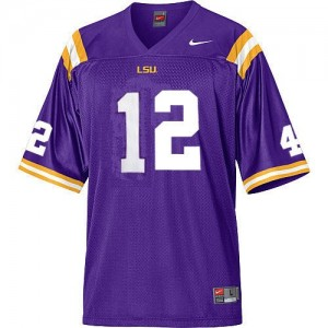 Jarrett Lee LSU Tigers #12 Mesh Football Jersey - Purple