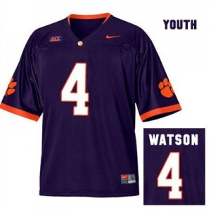 Deshaun Watson Clemson Tigers #4 Alternate Football Jersey - Purple - Youth