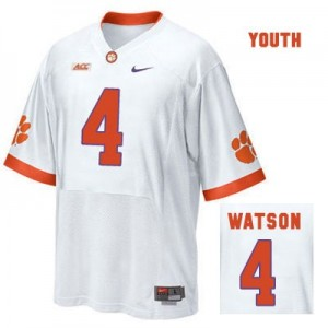 Deshaun Watson Clemson Tigers #4 Road Football Jersey - White - Youth
