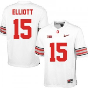 Ezekiel Elliott OSU #15 Diamond Quest Playoff Football Jersey - White