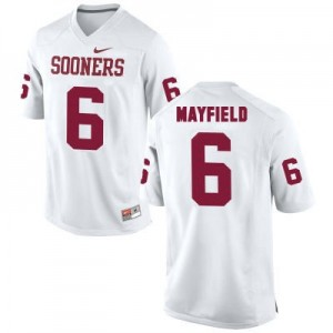 Oklahoma Sooners #6 Baker Mayfield White Football Jersey