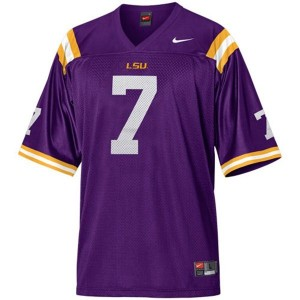 Tyrann Mathieu LSU Tigers #7 Mesh Youth Football Jersey - Purple