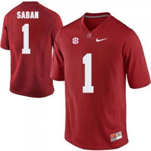 Head Coach Nick Saban #1 Red Alabama Crimson Tide Football Jersey