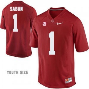Head Coach Nick Saban #1 Red Youth Alabama Crimson Tide Football Jersey