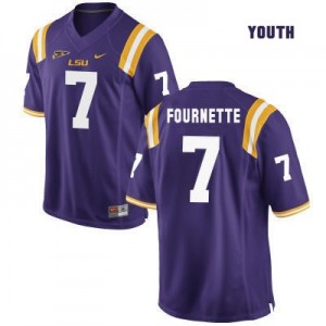 Leonard Fournette LSU Tigers #7 Youth Football Jersey - Purple