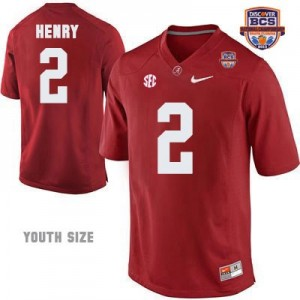 Youth Derrick Henry Alabama #2 NCAA Red Patch Football Jersey - 2013 BCS Champion