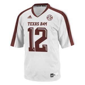 12th Man Texas A&M Aggies #12 Youth Football Jersey - White