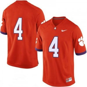 Clemson Tigers #4 College Football Jersey - Orange