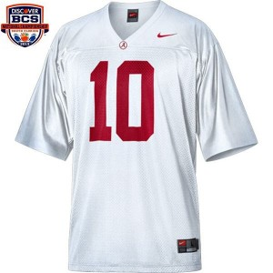 A.J. McCarron Alabama Apparel #10 BCS Bowl Patch Youth Football Jersey - White