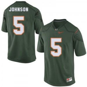 Andre Johnson Miami Hurricanes #5 Youth Football Jersey - Green