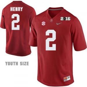 Derrick Henry #2 Alabama Crimson Tide 2016 Championship Patch Football Jersey - Crimson - Youth