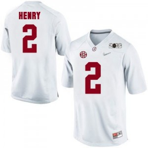 Derrick Henry #2 Alabama Crimson Tide 2016 Championship Patch Football Jersey - White