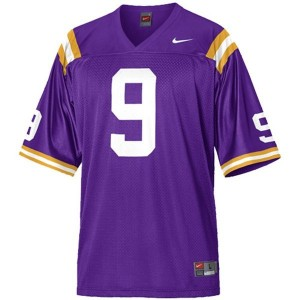 Jordan Jefferson LSU Tigers #9 Mesh Football Jersey - Purple