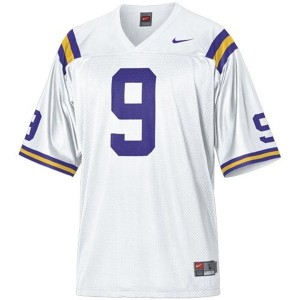 Jordan Jefferson LSU Tigers #9 Mesh Football Jersey - White