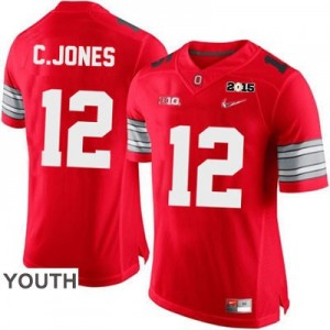 Cardale Jones OSU #12 Diamond Quest 2015 Patch College Football Jersey - Scarlet - Youth
