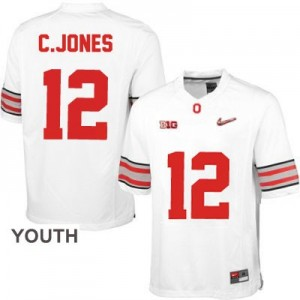 Cardale Jones OSU #12 Diamond Quest Playoff Football Jersey - White - Youth