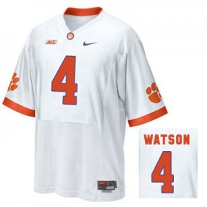 Deshaun Watson Clemson Tigers #4 Road Football Jersey - White