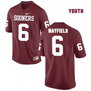 Oklahoma Sooners #6 Baker Mayfield Red Football Jersey - Youth