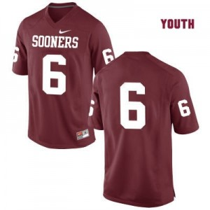 Oklahoma Sooners #6 Baker Mayfield Red Football Jersey (No Name) - Youth