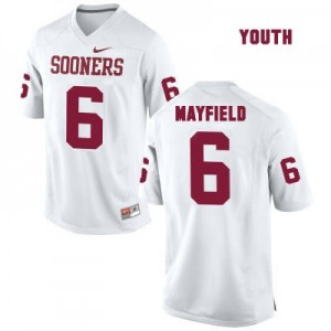 Oklahoma Sooners #6 Baker Mayfield White Football Jersey - Youth