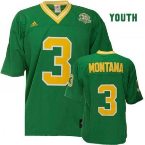 Joe Montana Notre Dame Fighting Irish #3 Youth Football Jersey - Green