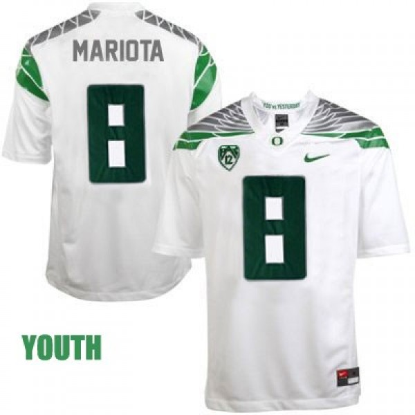 sale retailer f9c92 52db8 Marcus Mariota Oregon Ducks 2014 #8 Mach Speed Youth Football Jersey - White