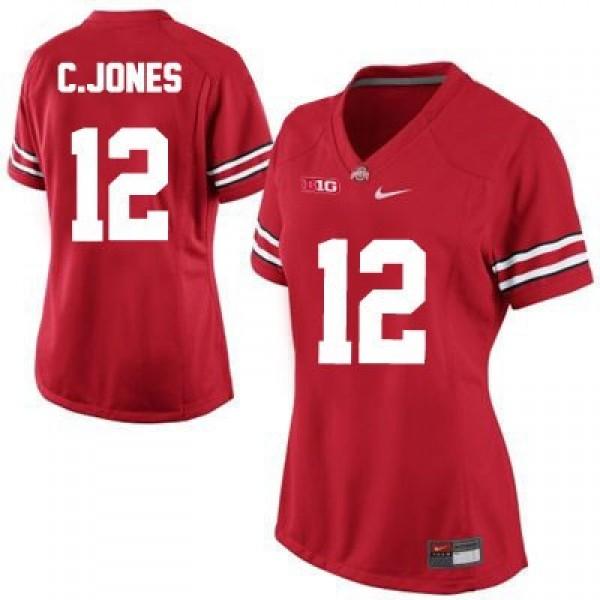 Cardale Jones Ohio State Buckeyes #12 Women's Football Jersey - Red
