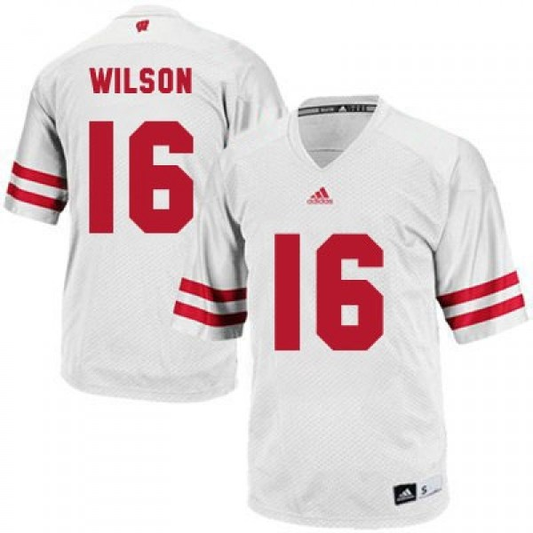 detailed pictures c25de 9cd49 Russell Wilson Wisconsin Badgers #16 Football Jersey - White