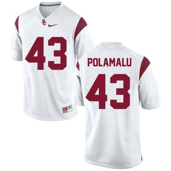 reputable site 28b06 b25a0 Troy Polamalu USC Trojans #43 Youth Football Jersey - White